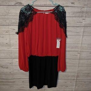 Fun true red and black dress